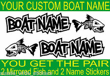 Custom Fishing BOAT NAME FISH Stickers Marine Vinyl for Tackle Box Cabin or Hull