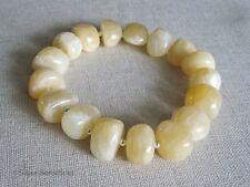 Pastel Lemon Yellow Calcite Nugget Beads & Sterling Silver Bracelet