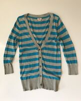 Mossimo Supply Co 100% cotton women's striped Turquoise Gray sweater cardigan