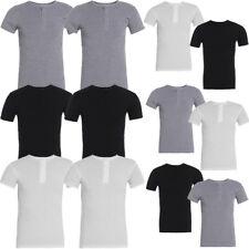 2 x Pack Raiken Grandad Neck Ribbed Slim Fit T-Shirt  Mens Size