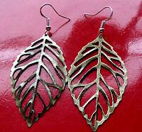 Earrings, Golden Bronze Skeleton Leaf on .925 Sterling Silver French Hooks.