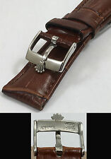 ROLEX DATE, OYSTERDATE Model 16mm Steel Logo Buckle 19mm Brown Leather Strap