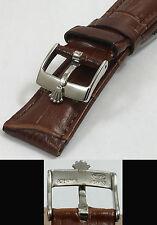 ROLEX DATE, OYSTERDATE Model 16mm Steel Logo Buckle 19mm Brown Leather Strap