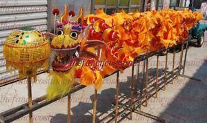 3.1m 4 kids CHINESE Yellow DRAGON DANCE Folk Costume stage prop mascot costume