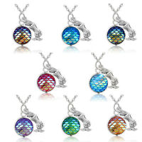 Novelty Mermaid Fish Scale Pendant Rainbow Holographic Sequins Charm Necklace JT