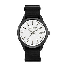 Caravelle New York Men's 45B142 Quartz White Analog Dial Black Nylon 41mm Watch