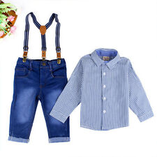 Gentleman Toddler Baby Boys T-Shirt Tops+Overall Jean Pants Outfits Clothes Set
