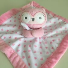 Falls Creek Baby Owl Lovey Blanket Security Pink Rattle