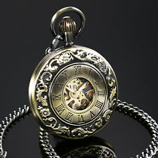 Analog Roman Numberals Chain Luxury Mens Pocket Watch Mechancial Bronze Case