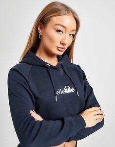 Ellesse Women Girl Navy Blue Long Sleeve Fleece Crop Hoodie Sweatshirt Jumper