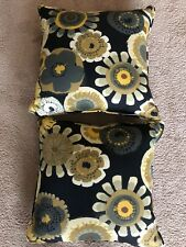 Pillow Perfect Decorative Black/Yellow Floral Square Toss Pillows, 2-Pack