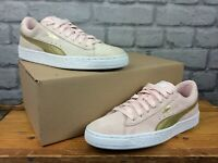 PUMA LADIES CLASSIC SUEDE PINK GOLD TRAINERS VARIOUS SIZES CASUAL T