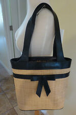 ISABELLA FIORE NATURAL HESSIAN FABRIC TALL PURSE w/BLACK LEATHER TRIM NWOT MINT!