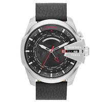 DIESEL Uhr DZ4320 MEGA CHIEF Herren Edelstahl Silber Leder Schwarz Armbanduhr