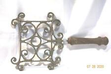 "VTG Metal Fireplace Trivet Pot Kettle Warming Stand wood handle18X10.5X1.75"" 18"