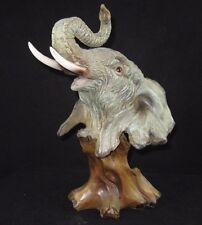 "Resin Elephant Head Bust  ""Carved Wood Look""  Figurine"