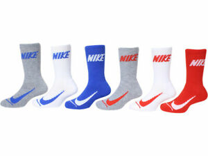 Nike Simple Swoosh Socks Toddler/Little Boy's Cushioned Crew 6-Pairs