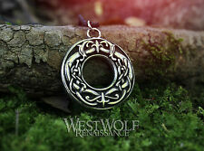 Viking Dragon-Ring Pendant -- Norse/Medieval/Norway/Celtic/Loki/Circle/Silver