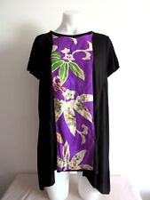HANDMADE VINTAGE KIMONO PANELED BLACK SHORT SLEEVE TOP SIZE 16  NEW