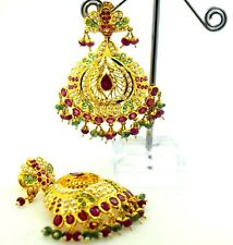 22 CARAT YELLOW GOLD LONG EARRINGS DANGLING Chandeliers Ruby Pearl Emerald IND