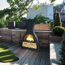 Stainless Steel Premier Wine Chiminea Fire Pit Outdoor Backyard and Patio Heater