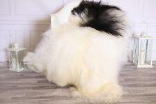 Genuine Natural Ivory Black Icelandic Sheepskin Rug long fur #ISLSH17
