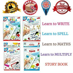 Learn to Write Alphabets Words Maths spell Educational Wipe Clean Book Kids pen