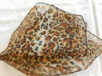 "Trendy Woman's Scarf 16"" Bandana Sheer Animal Leopard Print Rockabilly"