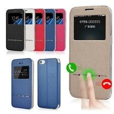 Smart Slim Flip Window View Cover Leather Stand Case Smart Answer For iPhone