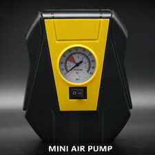 12V Yellow Mini Car Air Compressor Electric Pump Tire Inflator Pressure Gauge