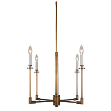 Contemporary mid-century modern 4-light antique Bronze Chandelier pendant