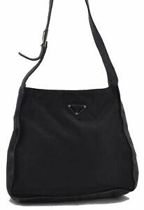 Authentic PRADA Nylon Leather Shoulder Cross Body Bag Black E3416