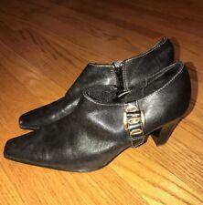 LIZ CLAIBORNE Gold Buckle Ankle Boots Pumps Clogs High Heels Womens Shoes Sz 7 #
