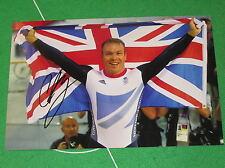 Sir Chris Hoy Signed London 2012 Olympic Velodrome Celebration Photograph