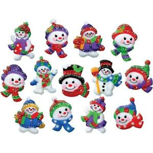 Design Works Felt Applique Christmas Ornaments Kit Make 13 JOLLY SNOWMAN 5279