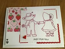 Handmade stitched blank card - Just for you -  Anniversary - Valentine