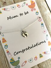 Mum Dad to be pregnancy charm baby shower adjustable bracelet gift