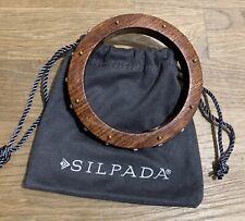 Silpada Wildwood Studded Bangle Sterling Silver Wood Swarovski Bangle B3303
