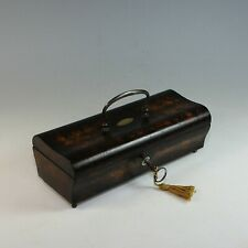 Antique French Louis Philippe Wood Box with Key