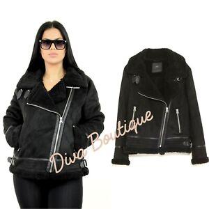 Zara AW 2018/19 Double Faced Faux Fur Biker Jacket Coat Size XL Free P&P New