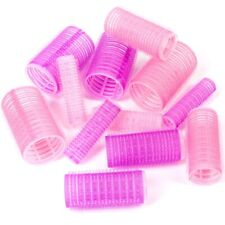 12 x HAIR CURLERS Various Sizes Pink/Blue Self Grip/Cling Curling Setting Waving
