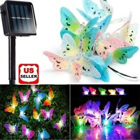 Solar Fairy String Lights 12 LEDs Butterfly Lights Waterproof Garden Yard Decor