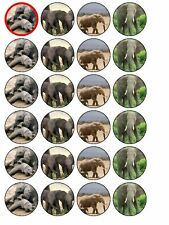 24 X ELEPHANT MIX NOVELTY RICE PAPER CAKE TOPPERS
