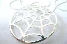SOLID 925 SHINY STERLING SILVER LARGE ROUND SPIDER'S WEB PENDANT NECKLACE