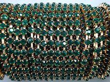 Acrylic 3mm Rhinestone Chain 1m Green/Gold Costume Sew Dance FREE POSTAGE