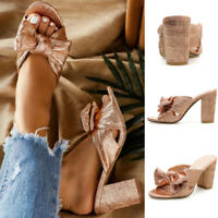 Ladies Bow-Knot Peep Toe Party Mules Sandals Women High Block Heels Bridal Shoes