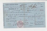 Kings Norton Union Received Poor Rate for Parish 1870 Stamp Receipt Ref 35313