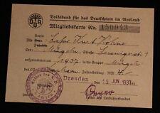 Alter Ausweis VDA Volksbund Dresden 1937