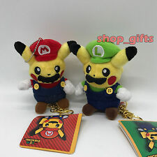 "2X Pokemon Crossover Mario & Luigi Pikachu Plush Key Chain Pendant Soft Toy 5"""