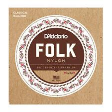 D'Addario EJ33 Ball End Nylon Folk Guitar Strings clear trebles 80/20 basses